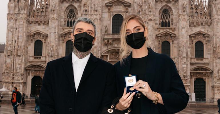 Chiara Ferragni e Federico Fedez Lucia Ambrogino d'oro Milano
