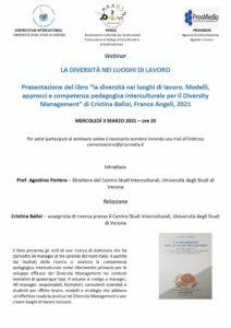 Presentazione-Diversità nei luoghi di lavoro-modelli, approcci, competenze pedagogica interculturale-diversity management-Cristina Balloi-Franco Angeli-ProsMedia-2021-min