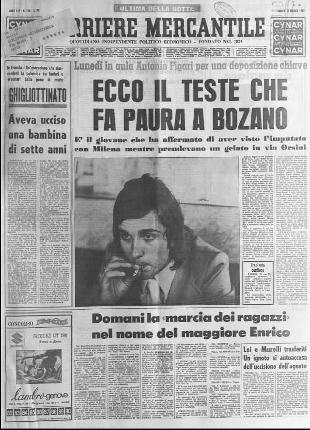 Antonio Figari - Corriere Mercantile - 1973 - processo a Lorenzo Bozano